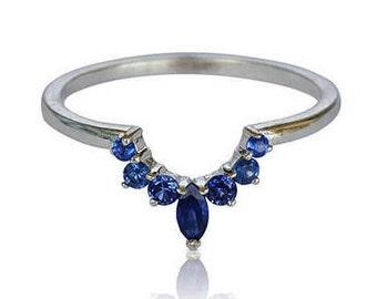 Sapphire Crown Ring, Matching Wedding band, Unique Wedding Ring Set, Sapphire Ring, Stackable Sapphire Ring, Wedding Set, Fast Free Shipping