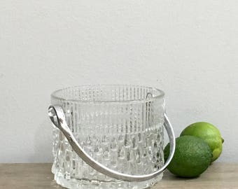 Vintage Ice Bucket Textured Clear Glass Ice Bucket Barware Drinkware Home Bar  Made in France