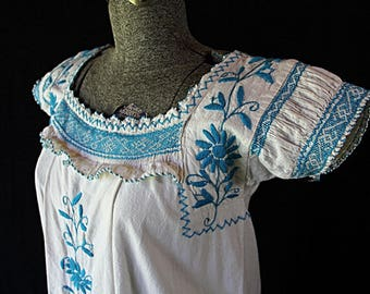Mexican Dress, Ethnic, Tribal, Tourist, Peasant Maxi 1970s