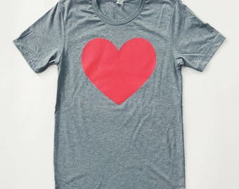 RED HEART - Tri-blend T-Shirt- UNISEX