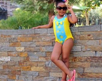 One Piece Swimsuit - Girls Swimsuit - Pineapple Print Swimsuit - Bathing Suit - Toddler Swimsuit - Pineapple Leotard - Girls Yellow Swimsuit