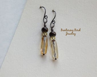 Slim Glass Earrings, Brown Stone and Golden Champagne Tube Dangle, Bronzite, Simple Copper Jewelry