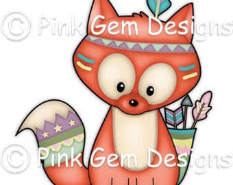 Digi Stamp Tribal Fox. Makes Cute Papercraft and Digital Scrapbooking Projects. Fox Cub. Woodland Animals