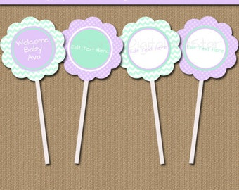 Lavender Mint Baby Shower Cupcake Toppers, Girl Baby Shower Favor Tags 2nd Birthday Party Supplies Its a Girl Decorations Thank You Tags BB1
