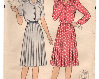 "RESERVED 1940's Hollywood One piece Shirtwaist Dress with Pleated Skirt Pattern - Bust 36"" - No. 1289"