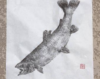 RAINBOW TROUT (Niji Masu)  Original Gyotaku - traditional Japanese fish art by dowaito (4)