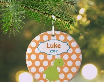 Personalized Kids Ornament - Dino Dinosaur Orange Polka Dot , Children Christmas Ceramic Circle Heart Snowflake Star