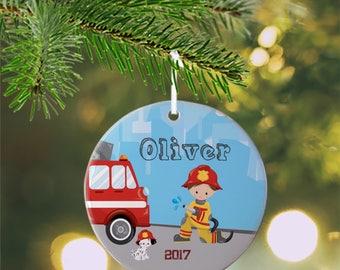 Personalized Kids Ornament - Firefighter Boy Girl Fire Truck, Children Christmas Ceramic Circle Heart Snowflake Star