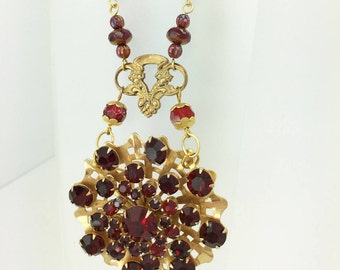 Wine / Burgundy Vintage Necklace ~ Assemblage using Vintage Brooch and Beads.  Very Regal and Classy.  Up cycled, Repurposed, Gorgeous!