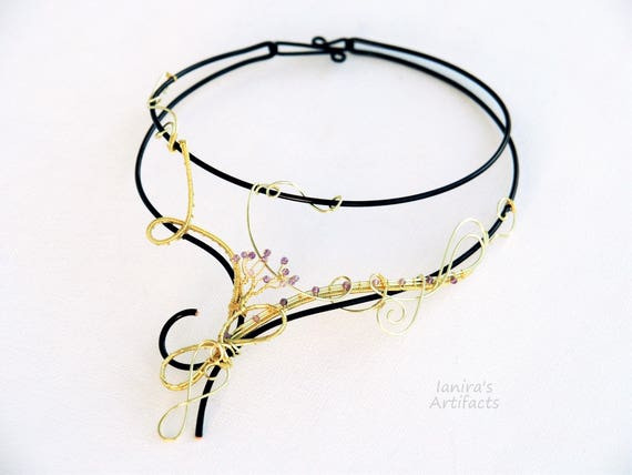 Black wire Gold collar Amethyst necklace Nature jewelry Statement Wedding Bridal Twig Tree of life Anniversary gift for her women wife