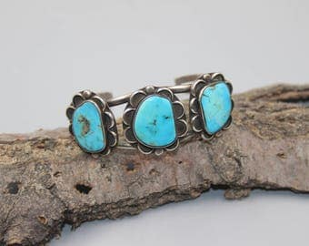 Sterling Silver Cuff Bracelet Native American Indian Turquoise Vintage