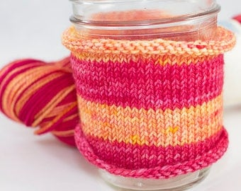 Self Striping Sock Yarn, Hand Dyed in Aries Colorway