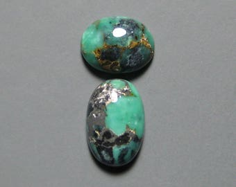 Blue Boy Mine Natural Variscite Cabochons from Nevada, 11x7mm and 9x7mm