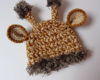 Newborn Crochet Giraffe Hat Knit Hat Animal Hat Baby Boy Baby Girl Baby Hat Photo Prop