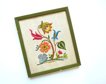 Colorful Crewel Embroidery // Vintage Green Framed Flower Patch and Squirrel Scene Cottage Style Kitsch Retro Folk Art Decor Embroidered