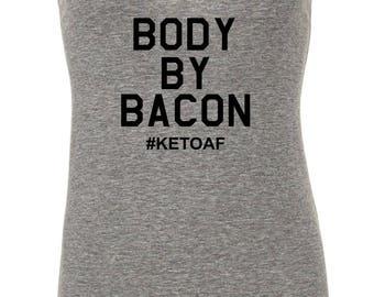 Body By Bacon - Keto, KetoAF Tank {women's fitted racerback tank} S-XXL