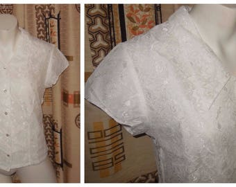 Vintage 1960s Blouse Semi Sheer White Lace Blouse Rhinestone Buttons Rockabilly Pinup L chest to 40 in