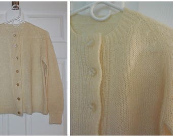Vintage Wool Sweater 1950s Cream Wool Cardigan Hand Knit Large Buttons Rockabilly L XL chest to 43 inches Ex Cond