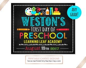 First Day Of Preschool Sign - Preschool Sign - Printable - 1st Day of Preschool Sign - Back to School Sign - 1st Day of School Chalkboard