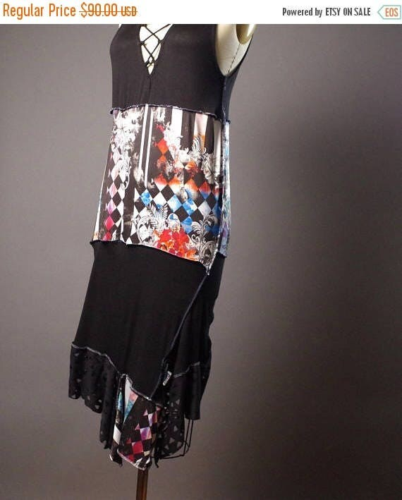 ON SALE Summer Long Dress - OOAK Summer dress - Street wear - Funky - Casual Summer Dress - Patchwork