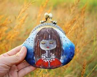 Hand painted coin purse, Metal frame purse Christmas girl