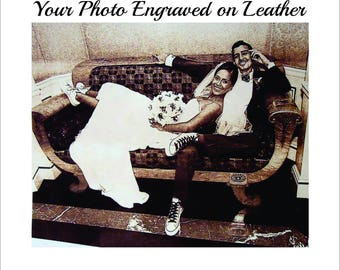 3rd Year Anniversary Gift, Your Wedding Photo Laser Engraved on Leather, 4x6 and 5x7
