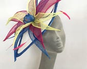 HANNAH Ivory Blue Pink & Yellow Fascinator Hat Hatinator Headpiece for Weddings Mother of Bride Royal Ascot Epsom Derby Kentucky Derby