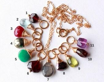 Gemstone Pendant Charm Necklace, Goldfilled wire wrap, garnet aquamarine ruby pyrite amazonite labradorite shpinel peridot amethyst petite