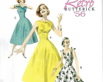 Butterick 5603 Retro 1956 Fitted & Flared Dress Pattern, Size 14-20, UNCUT