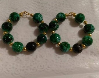 Green/Black 8MM Bead Gold Hoop Earrings