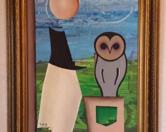 Gray Owl - Acrylic on Canvas Board