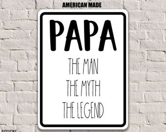 Funny grandpa sign gift for dad rustic wood sign papa sign papa gift papa the man the myth the legend sign grandpa sciox Gallery