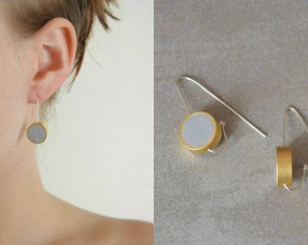 Gold and silver earrings, Long earrings, Silver earrings, Clay earrings, Hook earrings, Drop earrings, Geometric earrings, Circle earrings