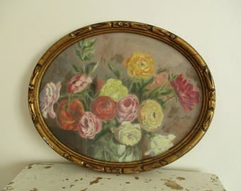 Vintage french OIL PAINTING on panel with Frame 1920s, Still life, Bouquet Flowers, Signed by the artist France
