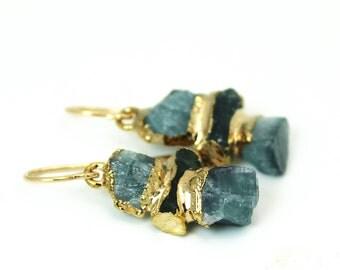 Balance earrings, tourmaline earrings, dangle earrings, gold earrings, raw tourmaline, raw gemstone, gift for her, blue tourmaline