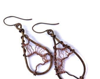 Copper Boho Earrings| Hammered Copper Earrings| Rustic Copper Earrings| Copper Wire Earrings| Copper Wirework Earrings
