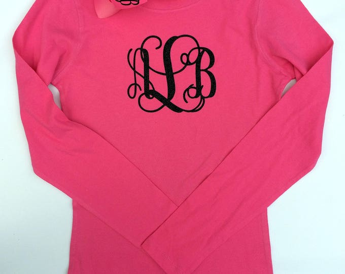 Monogrammed T Shirt, Monogram Hair Bow, Long sleeve, Monogrammed gifts, Girls and Women's Sizing