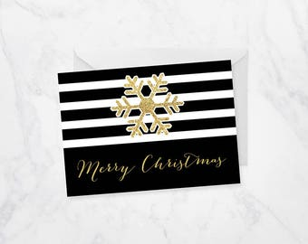 Snowflake Christmas Card, Gold Christmas Card, Snowflake Card, Personalized Christmas Card, Greeting Cards, Holiday Cards, Printed Cards