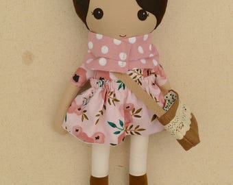 Fabric Doll Rag Doll Brown Haired Girl in Pink and Coral Floral Dress Polka Dotted Scarf and Linen Satchel