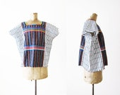 Mexican Embroidered Blouse / Mexican Huipil / Guatemalan Huipil / Bohemian Clothing / Boho Blouse / Boxy Blouse / Striped Blouse