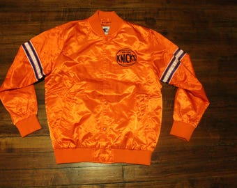 New York Knicks Satin Starter Jacket vintage NBA basketball orange coat Large