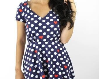 summer dress blue dots hears white elegant unique cotton
