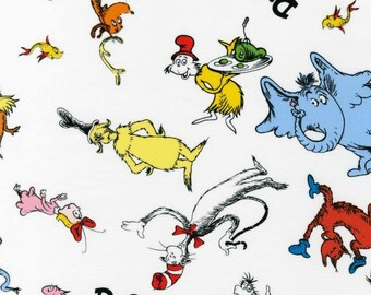 Celebrate Suess! Dr. Suess Fabric, Cat-in-The-Hat, Lorax, Horton, Robert Kaufman Fabric, 1/2 Yard