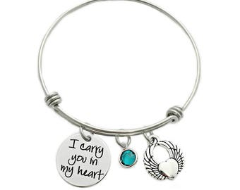 Personalized I Carry You In My Heart Bracelet - Engraved Jewelry - Expandable Wire Bangle - Miscarriage Remembrance - Pregnancy Loss - 1129