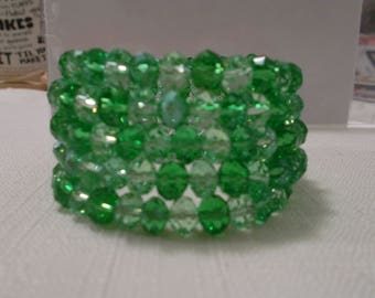 5 Row Memory Wire Cuff Bracelet with Pail and Light Green Crystal Beads