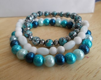 3 Stretch Bangle Bracelets made with Blue Sea Shell Pearls, White and Blue and Silver Glass Beads and Silver Crystal Beads