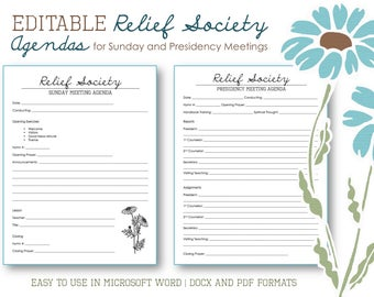 Relief Society Agendas for Sunday and Presidency Meetings - Editable Template