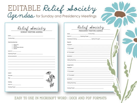 relief society agendas for sunday and presidency meetings