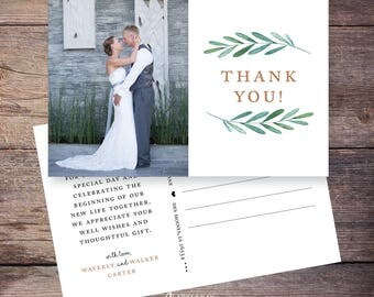 Printable or Printed Wedding Photo Thank You postcard, Garden, Greenery Wedding thank you cards photo, personalized thank you – Waverly