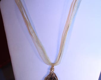 Gold Wrapped Agate Slice Necklace